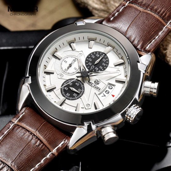 megir fashion leather sports quartz watch for man military chronograph