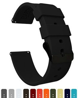 Barton Silicone - Black Buckle - 16mm, 18mm, 20mm, 22mm or 24mm