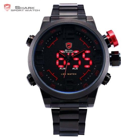 Gulper SHARK Sport Watch Digital LED Men Top Brand Luxury Black Red