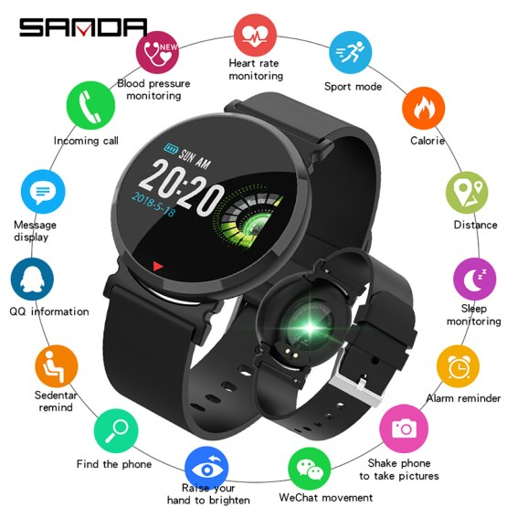 SANDA New Bluetooth Sports Smart Watch Men Heart Rate Blood Pressure