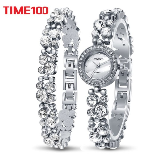 Time100 Women Bracelet Watches Fashion Quartz Watch Silver Diamond