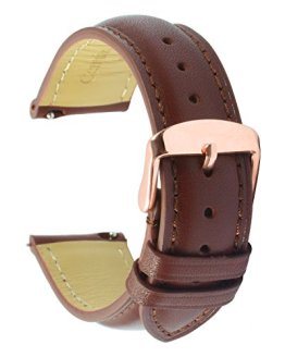 Quick Release Leather Watch Band 20mm Brown Replacement Watch Strap