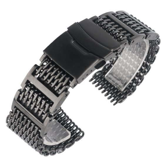 20mm 22mm 24mm 36L Black Stainless Steel Shark Mesh Watch Band