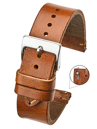 Hand Made Genuine Vintage Leather Watch Strap with Quick Release Steel