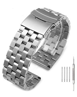 Brushed Silver 316L Solid Stainless Steel Watch Band Bracelet
