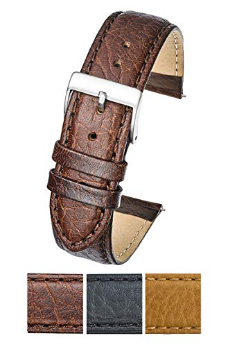 Soft Stitched Semi Padded Genuine Leather Buffalo Grain Watch Band