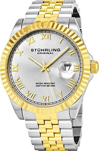 Stuhrling Original Men's Analog Swiss Quartz Two-Tone Link Bracelet Watch