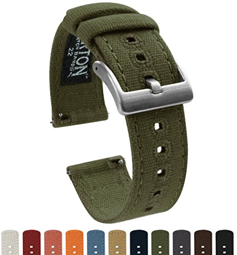 Barton Canvas Quick Release Watch Band Straps - Choose Color & Width