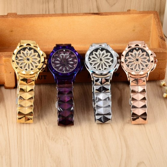 GOOD LUCK Floral Rotation Watch Women Crystals Watches