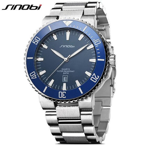 SINOBI Stainless Steel Men Watches Quartz Movement Luminous Hands Watch