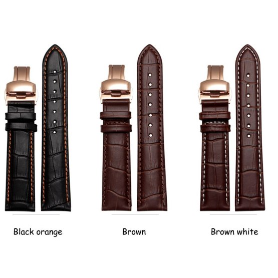 Quality genuine leather watch band replacement leather strap for mens