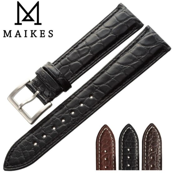 MAIKES 14mm-24mm HQ Genuine Alligator Leather Strap Watch Band