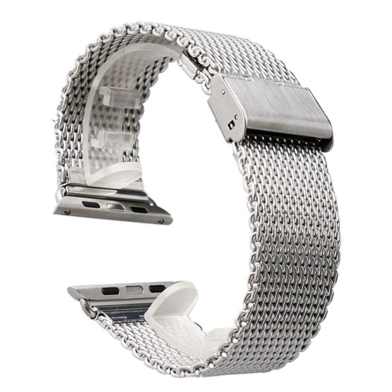 38/42mm Silver/Black Shark Mesh Stainless Steel Apple Watch Band