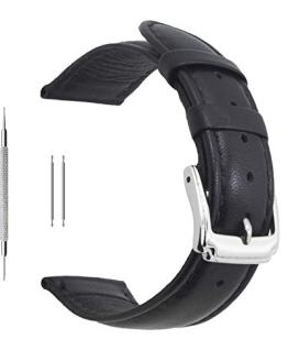 Berfine 20mm Black Calf Leather Watch Band Replacement