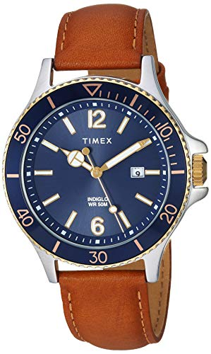 Timex Men's Harborside Tan/Blue Leather Strap Watch