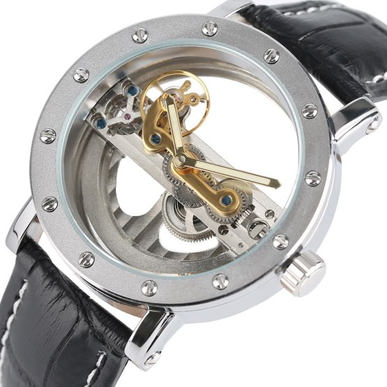 Hollow Automatic Mechanical Watch Men Fashion Luxury Brand Leather Band
