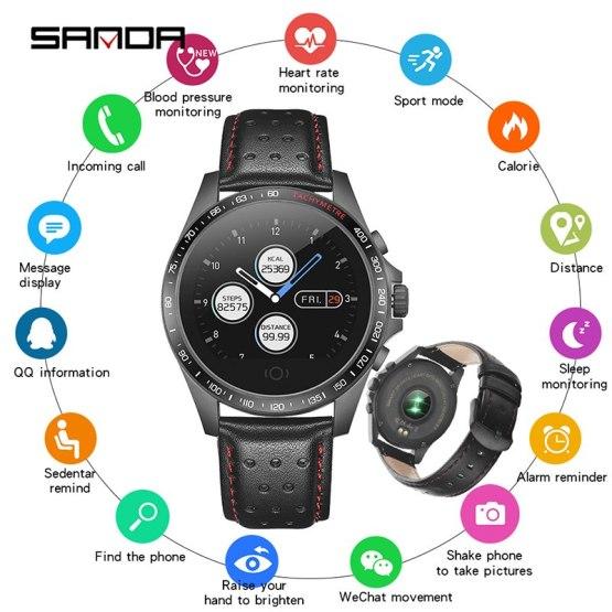 Leather Smart Watch SANDA CK23 IP67 Waterproof Heart Rate Monitor