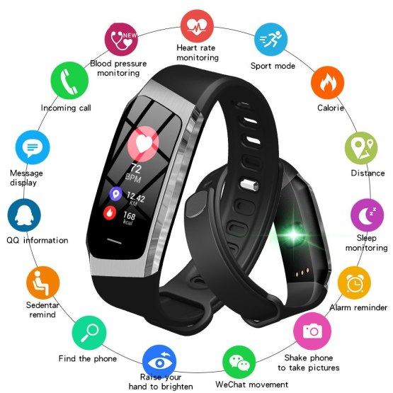 Fashion Cool Bluetooth Smartwatch Heart Rate Tracker Blood Pressure