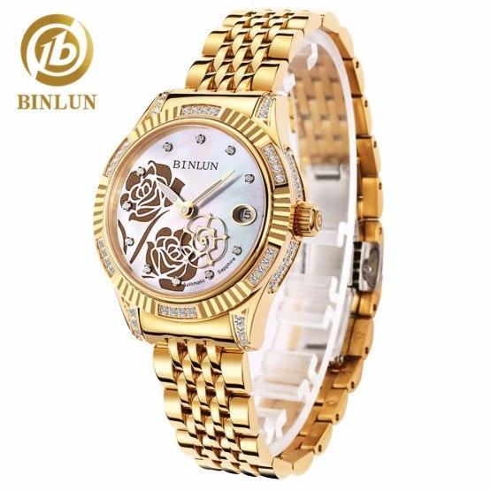 BINLUN Women's 18K Gold Automatic Mechanical Watch Diamond Waterproof
