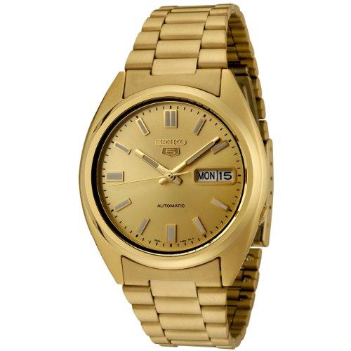 Seiko Men's Seiko 5 Automatic Gold Dial Gold-Tone Stainless Steel Watch