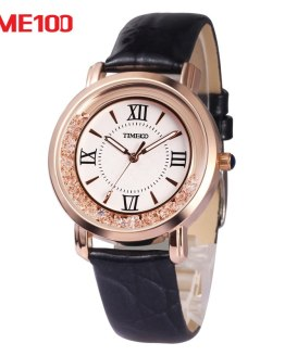 2017 New TIME100 Women's Watch Black Leather Strap Roman Numeral Big Dial