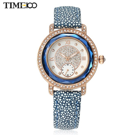 TIME100 Women Watches Ocean series Leather Strap Diamond Engagement