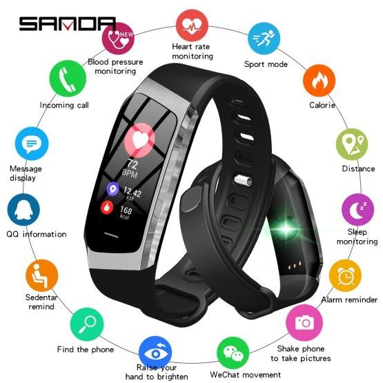 SANDA Fashion Cool Smart Watch Bluetooth Heart Rate Monitor