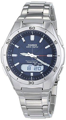 Casio WVA-M640D-2AER Mens Radio Controlled Steel Bracelet Combi Watch, Silver, 44mm