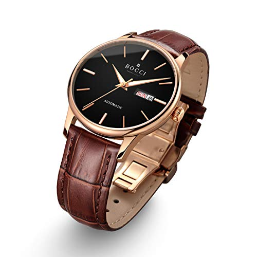 BOCCI Mens Rose Gold Watch Leather Band Japanese Automatic Watch Mechanical Casual Dress Wrist Watch Waterproof with Date Luminous Unisex