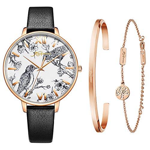 Kaifanxi Women's Quartz Wristwatch Elegant Bird Dial Design with Flowers Gift Bracelet for Ladies Sapphire Crystal Glass and Soft Leather Strap (Black)