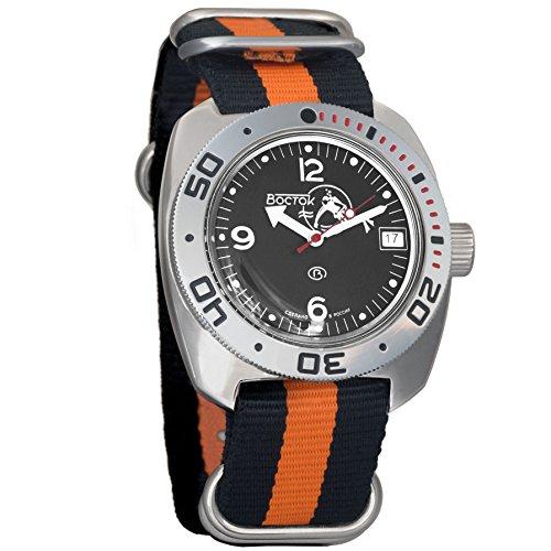 Vostok Amphibian Scuba Dude Mechanical Wrist Watch Blue and Black Dials (710634, Black+Orange)