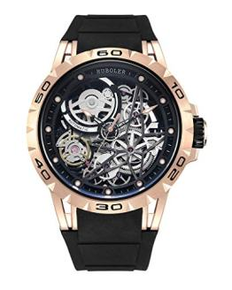 Huboler Men's Watch Skeleton Automatic Mechanical Stainless Steel Wrist Watches (Gold Black)