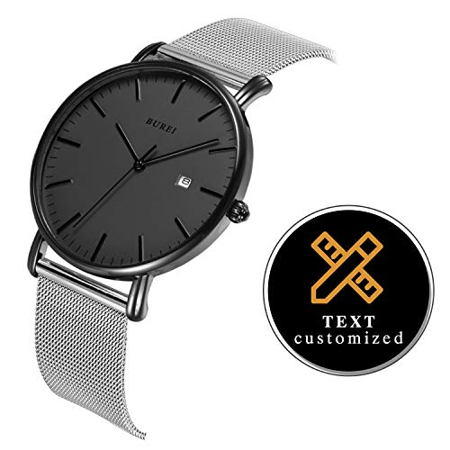 BUREI Personalized Men Watch Text Customization DIY Slim Quartz Wrist Watch and Stainless Steel Mesh Band Especial Gift for Loved Ones (Dark Grey-Silver)