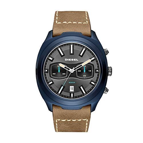 Diesel Men's Tumbler Stainless Steel Analog-Quartz Watch with Leather Strap, Brown, 25.5 (Model: DZ4490)