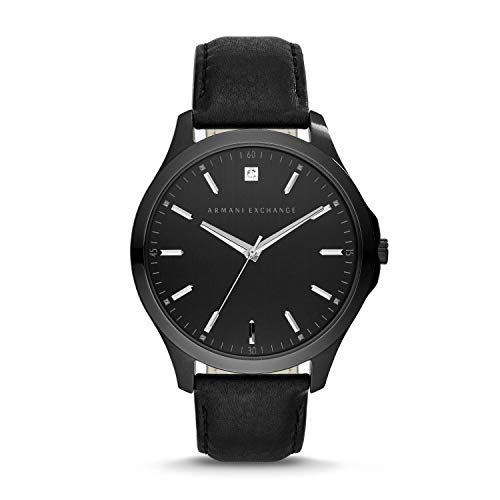 A|X Men's Black Leather Watch AX2171