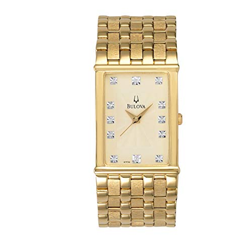 Bulova Men's 97F52 Diamond Accented Gold-Tone Steel Watch