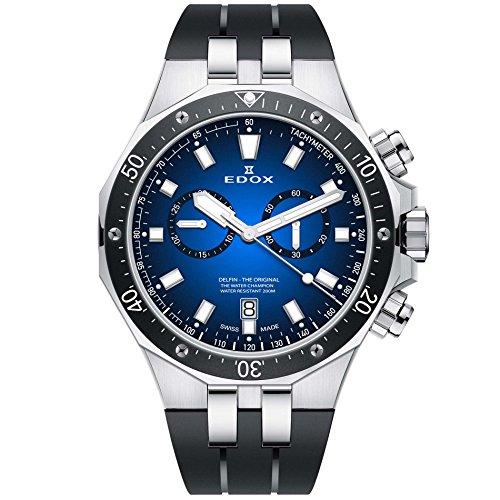 Edox Men's Delfin The Original 43mm Black Rubber Band Steel Case Swiss Quartz Analog Watch 10109 3CA BUIN