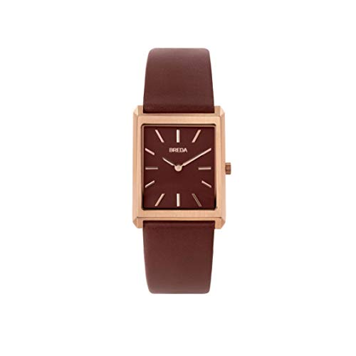 BREDA Men's Virgil 1736d Rose Gold Square Wrist Watch with Genuine Brown Leather Band, 26MM