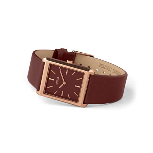 BREDA Men's Virgil Rose Gold Square Wrist Watch BREDA Men's Virgil 1736d Rose Gold Square Wrist Watch with Genuine Brown Leather Band, 26MM