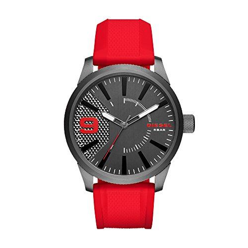 Diesel Men's DZ1806 Rasp Gunmetal IP Red Silicone Watch