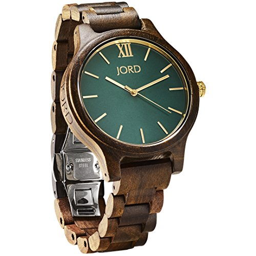 JORD Wooden Wrist Watches for Men or Women - Frankie Minimalist Series/Wood Watch Band/Wood Bezel/Analog Quartz Movement - Includes Watch Box (Dark Sandalwood & Emerald)