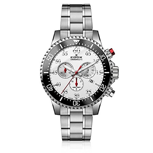 Edox Men's Chronorally -S Quartz Sport Watch with Stainless-Steel Strap, Silver, 20 (Model: 10227 3M ABN)