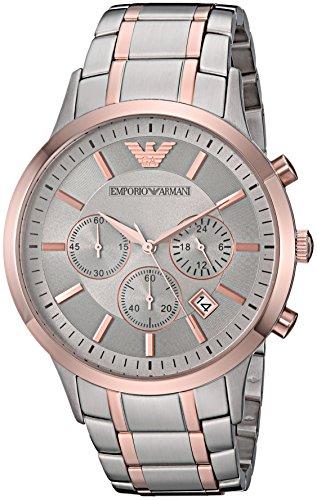 Emporio Armani Men's Dress Watch Quartz Stainless-Steel Strap, Silver, 13 (Model: AR11077)