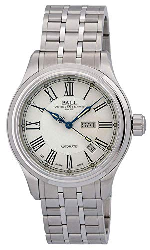 Ball Trainmaster Roman Automatic NM1058D-S4J-WH White Dial 15 Gas Tubes 41mm