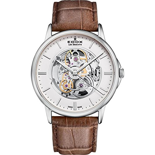 Edox Men's Les Bemonts Stainless Steel Swiss-Automatic Watch with Leather Strap, Brown, 22 (Model: 85300 3 AIN)