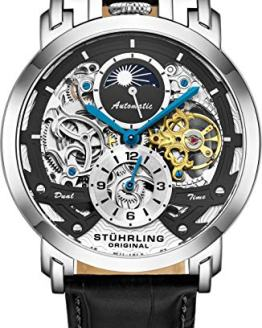 Stuhrling Orignal Mens Watch Automatic Watch Skeleton Watches for Men - Leather Luxury Dress Watch - Mechanical Watch Stainless Steel Case Self Winding Analog Watch for Men (Black)