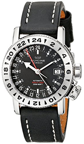 Glycine Unisex 3918-19-LB9B Airman Stainless Steel Watch with Black Leather Band