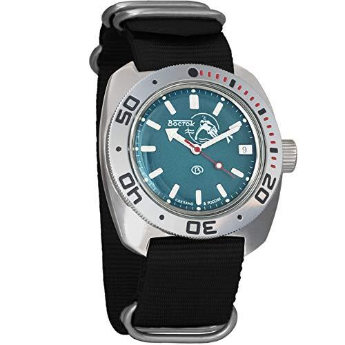 Vostok Amphibian Scuba Dude Automatic Mens WristWatch Self-winding Military Diver Amphibia Ministry Case Wrist Watch #710059 (black)
