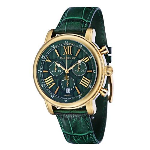 Thomas Earnshaw Men's LONGCASE 43 Stainless Steel Swiss-Quartz Watch with Leather Strap, Green, 20 (Model: ES-0016-09)