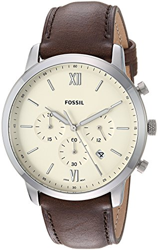 Fossil Men's Neutra Chrono Stainless Steel Quartz Watch with Leather Calfskin Strap, Brown, 22 (Model: FS5380)